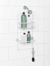 Bathroom Shower Caddy Bath Accessory Organizer 2 Shelf 2 Hook Hanging Ra... - $18.26