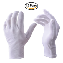 Zealor 12 Pairs White Cotton Gloves, Coin Jewelry Silver Inspection Glov... - $14.95