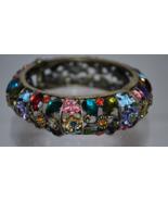 Antique Gold Tone Metal Bangle Bracelet with Multicolored Rhinestones - $14.99