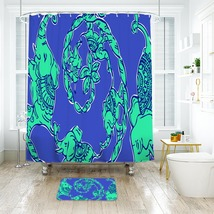 Flower Lilly Loopy Shower Curtain Waterproof & Bath Mat For Bathroom - $15.30+