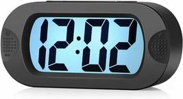 Plumeet Large Digital LCD Travel Alarm Clocks with Snooze and Night Light, Black