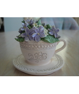 Collectible Cup Saucer Figurine Violets Yellow Buttercup Flo - $6.99