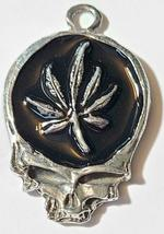 MARIJUANA LEAF SKULL Fine Pewter Pendant Approx. 1-1/2 inches wide image 6