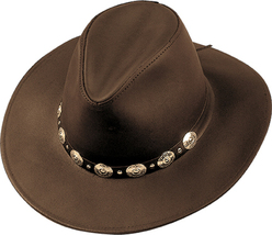 Henschel Dakota Cowhide Leather Cowboy Hat Conchos Made In USA Brown Black - $74.00