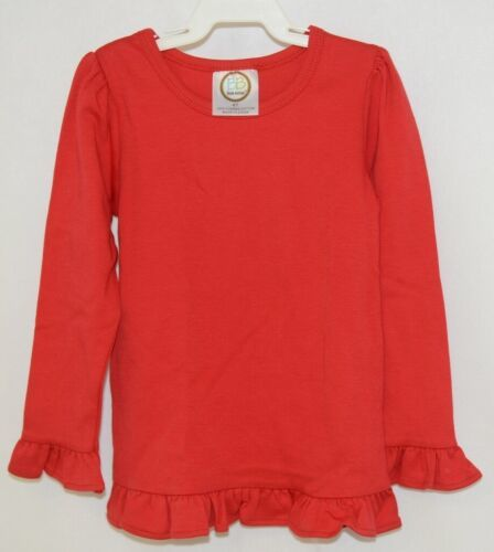 Blanks Boutique Girls Red Long Sleeve Ruffle Tee Shirt Size 4T
