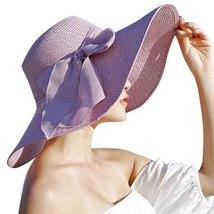 CHAMSGEND Women Big Brim Straw Hat Sun Floppy Wide Brim Hats New Bowknot Folding image 4