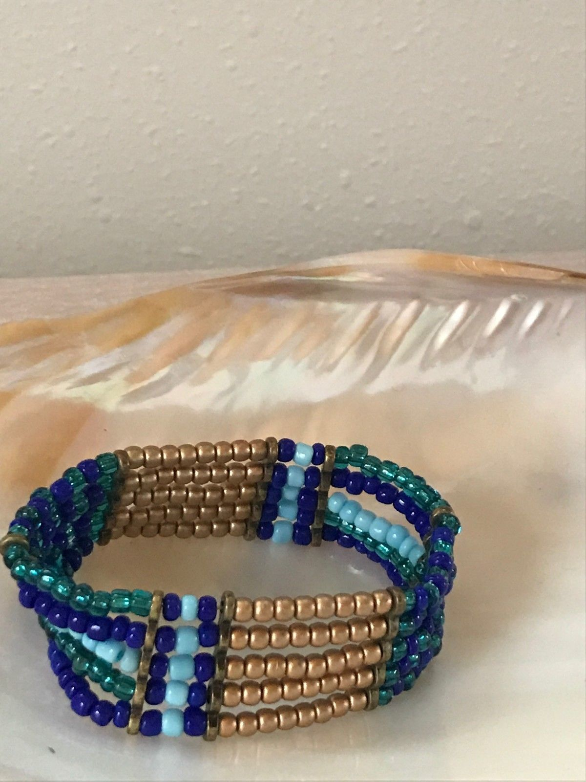 Estate Shades of Blue & Gilt Bead Wide Stretch Bracelet  - will fit small to med