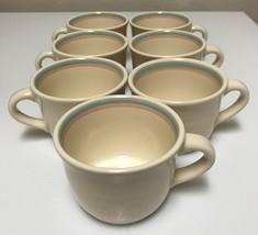 Pfaltzgraff Sunrise Stoneware Cups Blue & Peach Bands Lot of 7  - $33.99