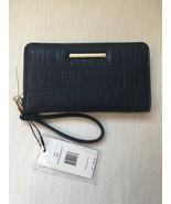 Steve Madden Wallet Blue Stamped Logo Gold Zipper and nameplate Organizer - $33.75