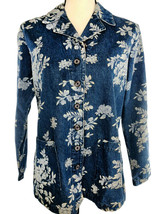 DENIM & CO Blue Jean Jacket Floral Rose Flower Graphics Women Size Small... - $32.69