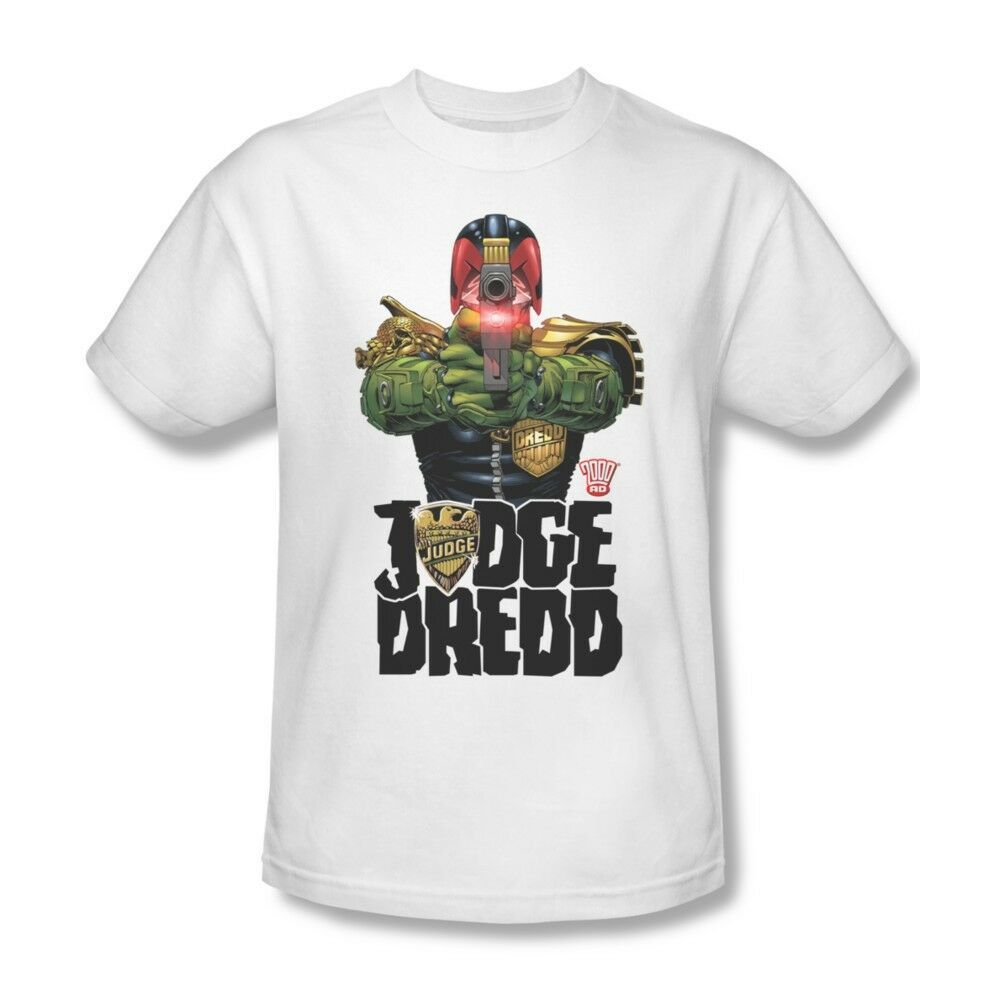 Judge Dredd T-shirt I Am Law Free Shipping 100% cotton graphic white tee JD102
