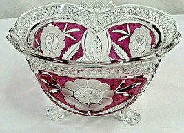 """Pressed Glass Footed Candy Dish Clear Pink Floral No Lid 4"""" High - $29.69"""