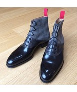 New Handmade blue leather ankle boots for men, men leather boot in blue ... - $159.99+