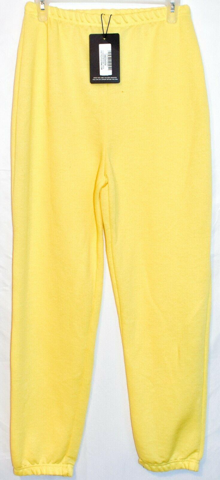 Pretty Little Thing Women's Yellow Oversized Basic Cuff Joggers Pants Size 6 NWT
