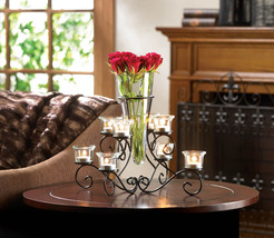 Black Scrollwork Candle Stand With Glass Vase - $35.34