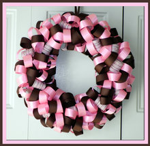 Pink and Brown Custom Loopy Ribbon Wreath - $29.00