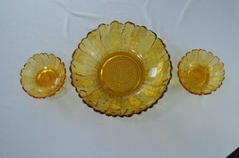 """Indiana Glass Sunflower Amber 10 1/2"""" Bowl & 2 Candle Holders  - $24.75"""
