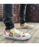 Hand Painted Shoes Converse Chuck Taylor Cute Donut Low Top Pink Canvas ... - $159.00