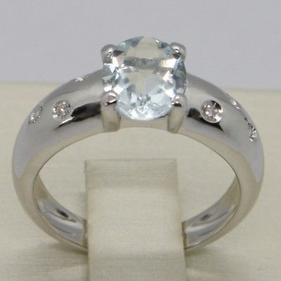SOLID 18K WHITE GOLD BAND RING OVAL AQUAMARINE 1.5 CT & DIAMONDS, MADE IN ITALY