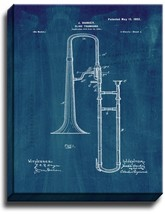 Slide Trombone Patent Print Midnight Blue on Canvas - $39.95+