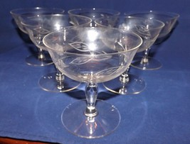 Set of 6 Clear Dessert Dishes with Etched Flowers - $17.09