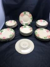 Franciscan Lot 12 Fruit Dessert Bowls & 11 Bread Plates Desert Rose USA EUC - $55.39