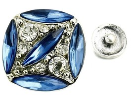 Interchangeable Button Snap Jewelry Dark Blue Marquise Square 18mm 282-4 - $5.98