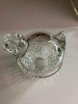 "Anchor Hocking Glass Clear Round  Chicken On Nest Covered Dish Trinket Holder 3"" - $14.85"
