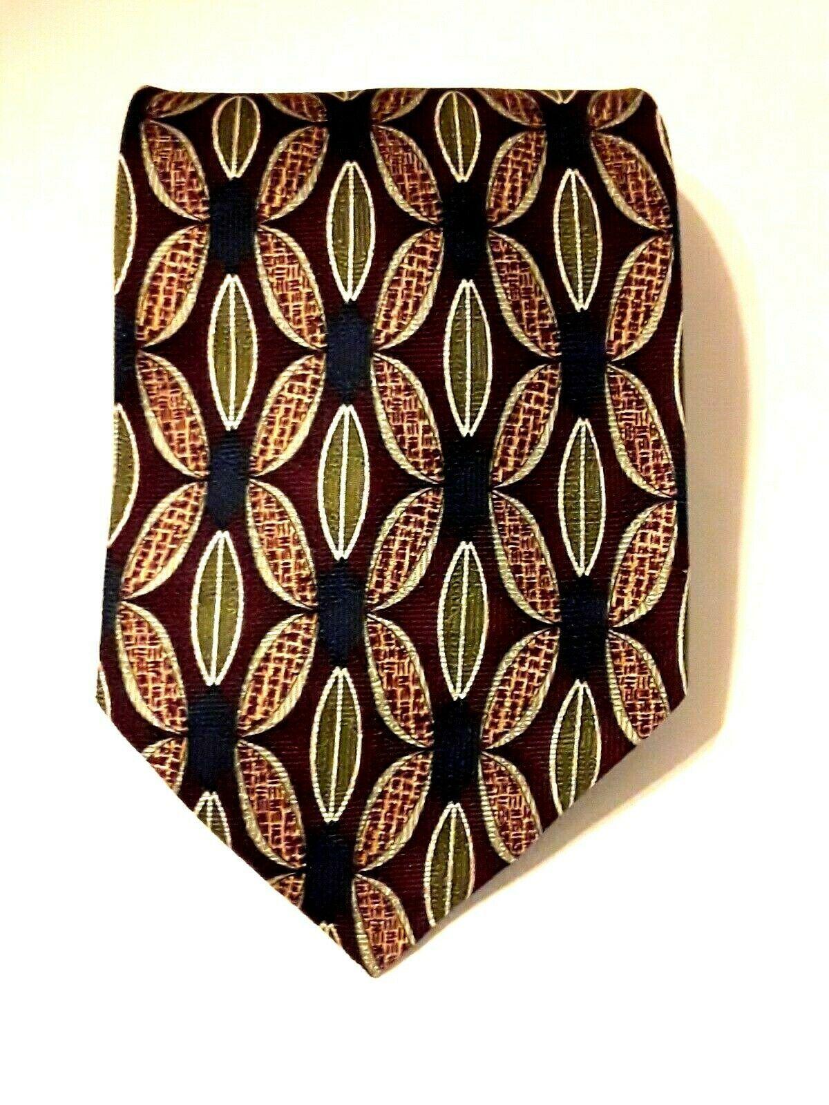 """Louis Roth Men's Tie Necktie 100% Silk Gold Black Burgundy Geometric 59"""" x 4"""""""