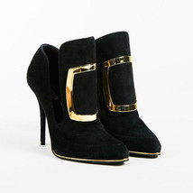 "Balmain NWT ""Noir"" Black Suede Buckled ""Desire"" Pointed Ankle Boots SZ 39.5 - £335.81 GBP"