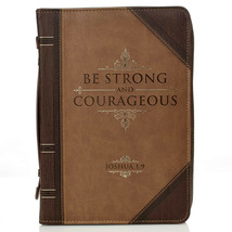 "Bible Cover Brand NEW Be Strong & Courageous XL Brown 11 1/8"" x 8"" x 2 1/8"" - $28.23"