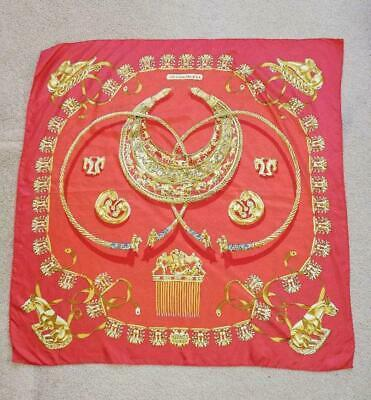 "Primary image for Hermes Scarf Les Cavaliers D'Or 90 cm Silk Red Carre 35"" M148"