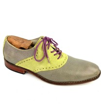 "Men's COLE HAAN Air ""Colton Saddle"" Gray Green Leather Oxfords Size 10 Med - $39.59"