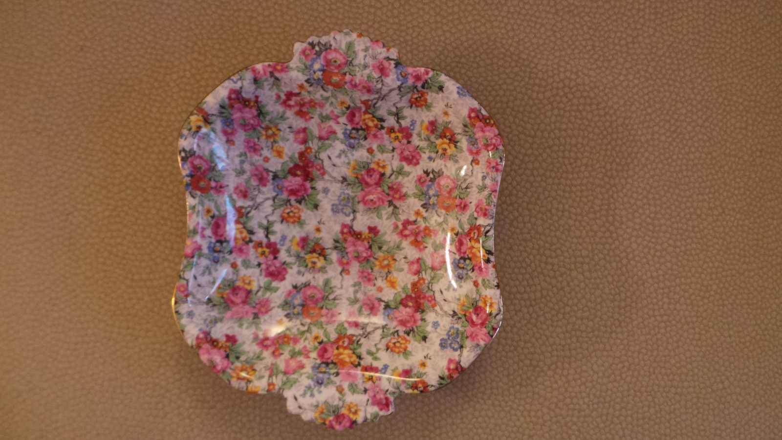 unused Royal Albert England Rose Chintz Bone China Dish w Handles scalloped edge