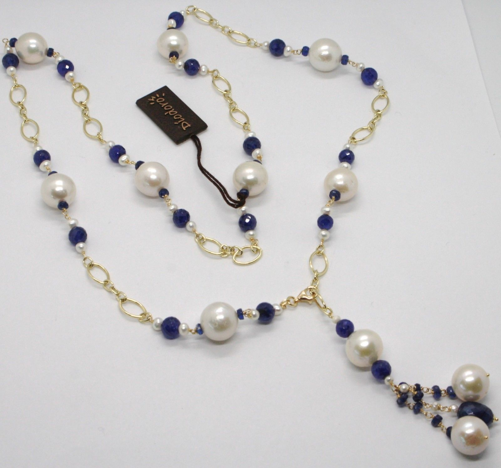 18K YELLOW GOLD LONG LARIAT NECKLACE BLUE SAPPHIRE PEARL, CLUSTER, MADE IN ITALY