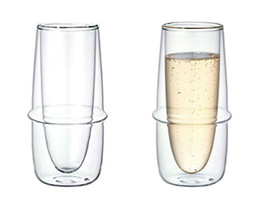 Double-Wall Kinto KRONOS Champagne Glass - Maintains Temperature  - Set ... - $32.66