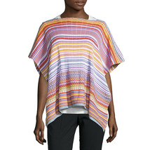 Missoni Pink Purple Zig Zag Large Cotton Knit Orange Label Swing Poncho Wrap NWT - $123.26