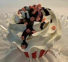 Peppermint Chocolate Drizzle Fake Cupcake -Fake food display prop decoration - $8.41