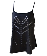 Womens Size S Black Geometric Cut-Out Spaghetti Strap Top  - $10.99