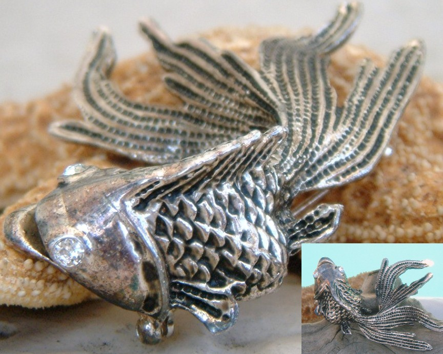 Vintage goldfish brooch pin fantail fish koi figural for Silver koi fish