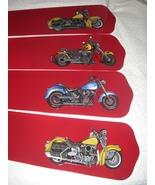 CUSTOM ~ ~ ~ MOTORCYCLE CYCLE MOTIF CEILING FAN w/ RED BLADES! - $99.99