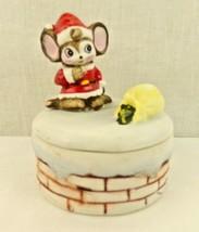 "Santa Mouse Bag on Chimney Covered Box  4"" High Ceramic HOMCO 8901 - $16.14"