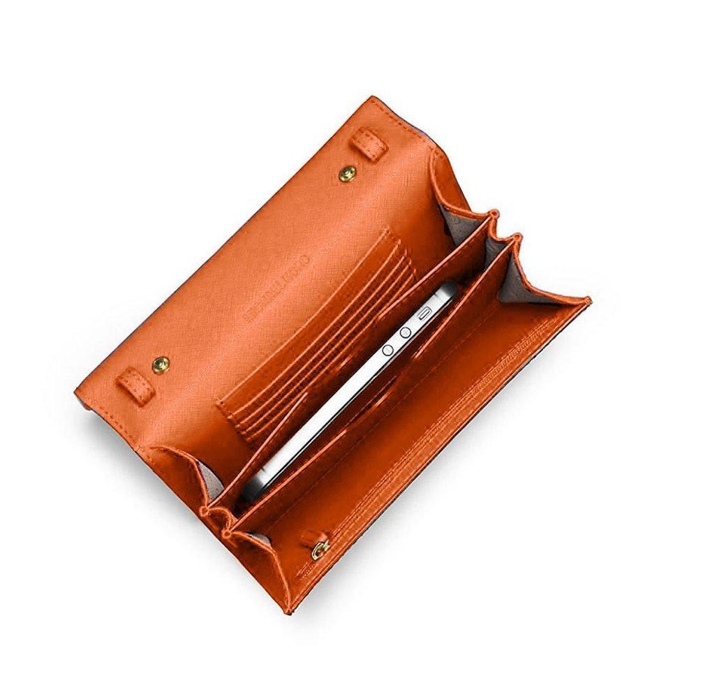 64b7090e2045 Michael Kors Jet Set Travel Large Phone Saffiano Leather Crossbody Handbag ( Clem