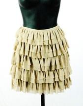 Michael Kors Khaki Silk Tiered Ruffle Raw Edge A Line Mini Skirt Size 2 NWT