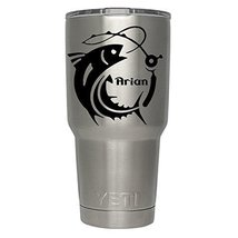 Bass Fishing Pole with name decal for yeti,rtic, ozark tumblers, laptops... - $4.46