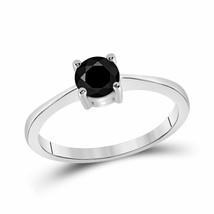 10kt White Gold Round Black Color Enhanced Diamond Bridal Engagement Ring - £183.07 GBP