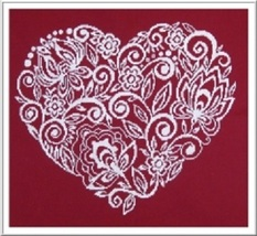 Lace Flower Heart cross stitch chart Alessandra Adelaide Needlework - $16.20