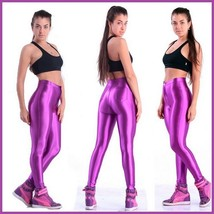High Waist Satin Purple Electric Zip up Skin Tight Legging Pencil Pants