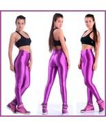 High Waist Satin Purple Electric Zip up Skin Tight Legging Pencil Pants - $58.95
