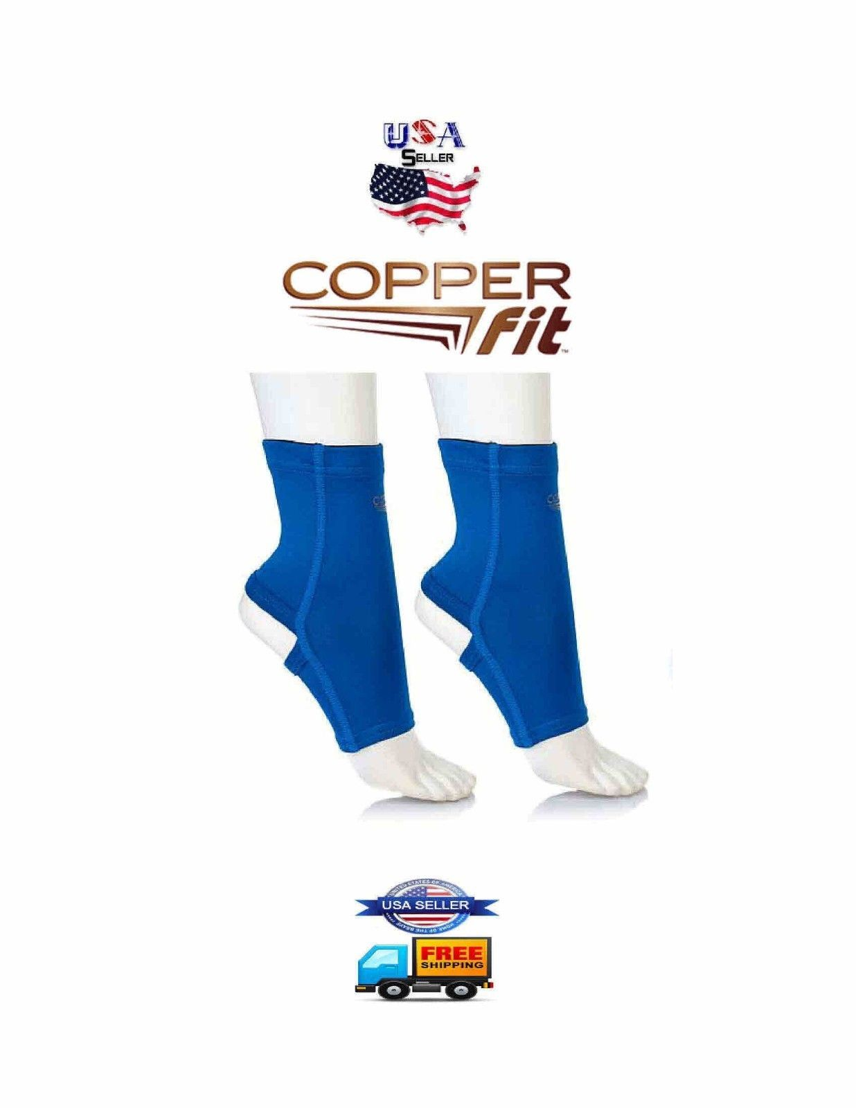 Primary image for Copper Fit Ankle Arena Compression Copper Infused Support Blue Med US SELLER